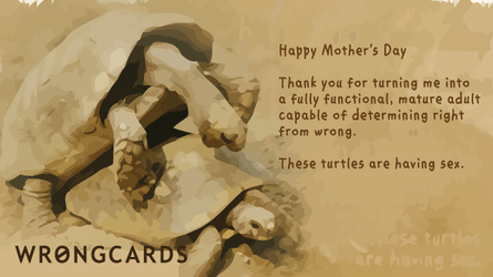 Happy Mother's Day. Thank you for turning me into a fully functional, mature adult capable of determining right from wrong. These turtles are having sex.