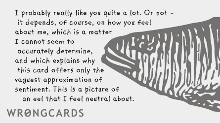 I probably really like you quite a lot. Or not - it depends of course on how you feel about me, which is a matter I cannot seem to accurately determine, which is why this card offers only the vaguest approximation of sentiment. This is a picture of an eel