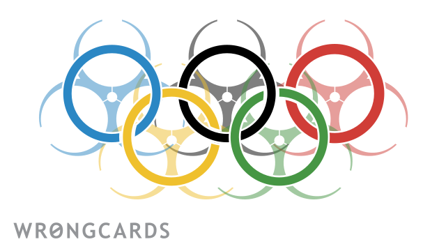 Ecard text: A picture of a the Olympic Rings as bio-hazards.