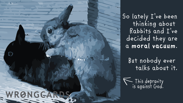 Ecard text: So lately I've been thinking about rabbits and I've decided they are a moral vacuum. But nobody ever talks about it.