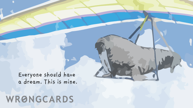 Ecard text: Everyone should have a dream. This is mine. With a picture of a hang gliding walrus.
