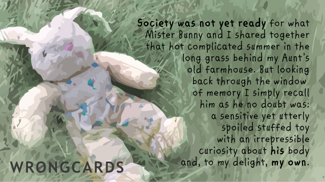 Ecard text: 'Society was not yet ready for what Mister Bunny and I shared together that hot complicated summer in the long grass behind my Aunt's old farm house. But looking back through the window of memory I simply recall him as he no doubt was: a sensitive yet utterly spoiled stuffed toy with an irrepressible curiosity about his body and, to my delight, my own.'
