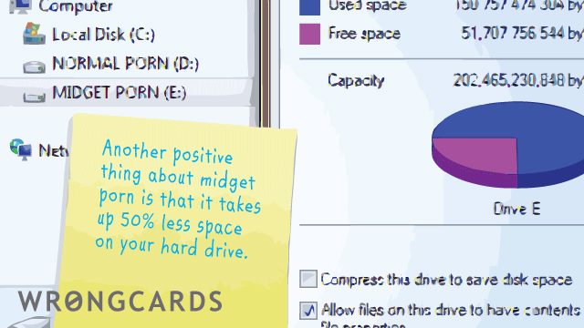 Ecard text: Another positive thing about midget porn is that it takes up 50% less space on your hard drive.