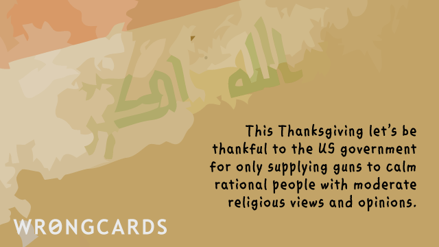 Ecard text: This Thanksgiving, let's be thankful to the US government for only supplying guns to calm, rational people with moderate religious views and opinions.
