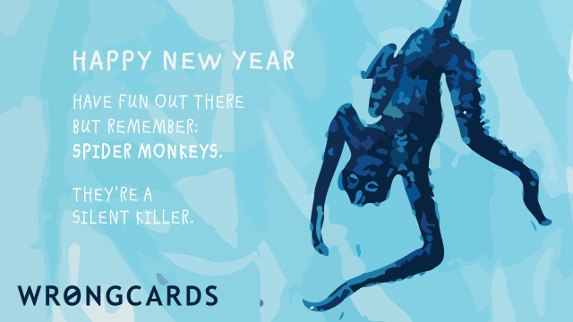 Ecard text: Happy New Year. Have fun out there but remember: spider monkeys. They're a silent killer.