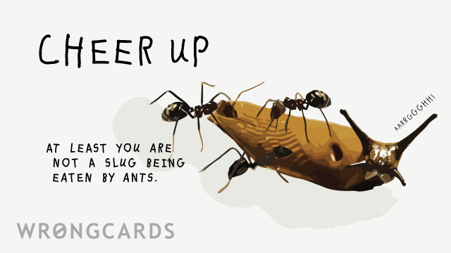 Ecard text: Cheer up.  At least you are not a slug being eaten by ants.