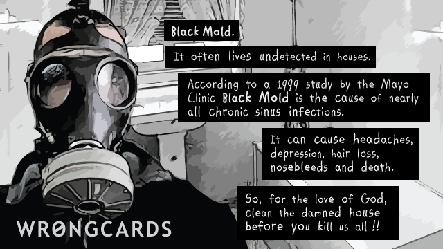 Ecard text: Black Mold. It often lives undetected in houses. According to a 1999 study at the Mayo Clinc, Black MOld is the cause of nearly all chronic sinus infection. It can cause headaches, depression, hair loss, nosebleeds, and death. So faor the love of God, clean the damned house before you kill us all!